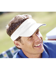 White/navy Washed Twill Sandwich Visor