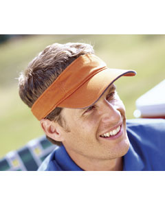 Tangerine/navy Washed Twill Sandwich Visor