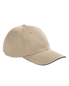 Khaki/black Washed Twill Sandwich Cap