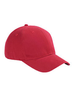 Red 6-Panel Brushed Twill Structured Cap