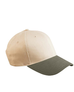 Stone/olive 6-Panel Brushed Twill Structured Cap