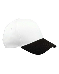 White/black 6-Panel Brushed Twill Structured Cap