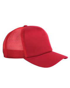 Red 5-Panel Twill Trucker Cap