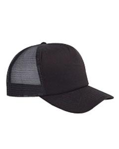 Black 5-Panel Twill Trucker Cap