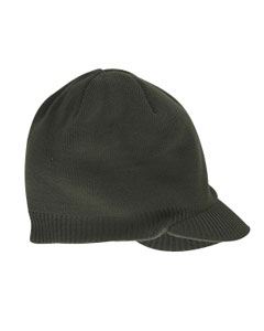 Olive Knit Cap with Bill