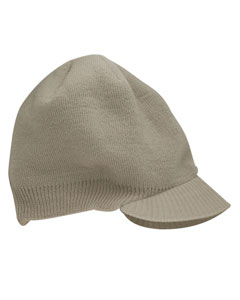 Khaki Knit Cap with Bill