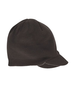 Brown Knit Cap with Bill
