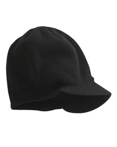 Black Knit Cap with Bill
