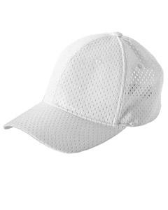 White 6-Panel Structured Mesh Baseball Cap