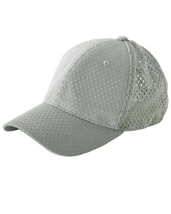 Grey 6-Panel Structured Mesh Baseball Cap