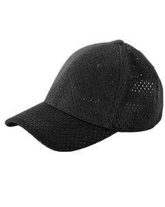 Black 6-Panel Structured Mesh Baseball Cap