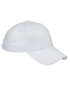White 6-Panel Structured Twill Cap