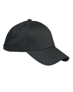 Black 6-Panel Structured Twill Cap