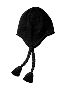 Black Knit Earflap Beanie