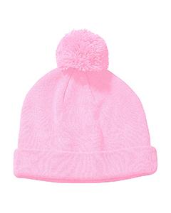 Pink Knit Pom Beanie