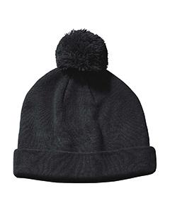 Black Knit Pom Beanie