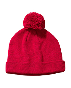 Red Knit Pom Beanie