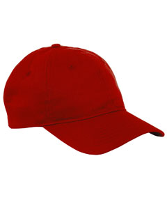 Red 6-Panel Twill Unstructured Cap