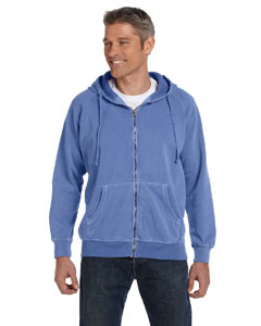 Flo Blue 10 oz. Garment-Dyed Full-Zip Hood