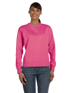 Raspberry Women's 10 oz. Garment-Dyed Wide-Band Fleece Crew