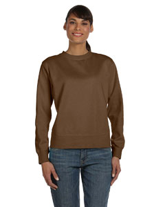 Brown Women's 10 oz. Garment-Dyed Wide-Band Fleece Crew