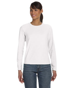 White Women's 5.4 oz. Ringspun Garment-Dyed Long-Sleeve T-Shirt