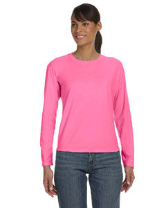 Raspberry Women's 5.4 oz. Ringspun Garment-Dyed Long-Sleeve T-Shirt