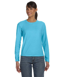 Lagoon Blue Women's 5.4 oz. Ringspun Garment-Dyed Long-Sleeve T-Shirt
