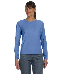 Flo Blue Women's 5.4 oz. Ringspun Garment-Dyed Long-Sleeve T-Shirt