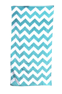 Turquoise Chvron Carmel Beach Towel