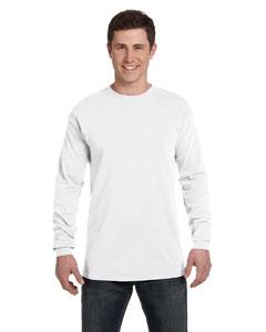White Ringspun Garment-Dyed Long-Sleeve T-Shirt