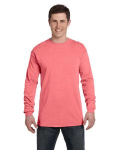 Neon Red Orange Ringspun Garment-Dyed Long-Sleeve T-Shirt