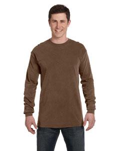 Brown Ringspun Garment-Dyed Long-Sleeve T-Shirt