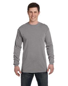 Grey Ringspun Garment-Dyed Long-Sleeve T-Shirt