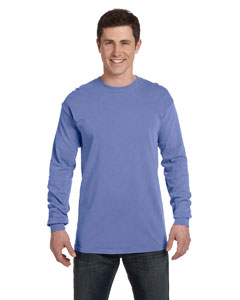 Flo Blue Ringspun Garment-Dyed Long-Sleeve T-Shirt