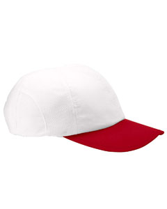 White/scarlet Moisture-Wicking Mesh Cap