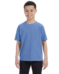 Flo Blue Youth 5.4 oz. Ringspun Garment-Dyed T-Shirt