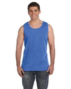 Neon Blue Ringspun Garment-Dyed Tank