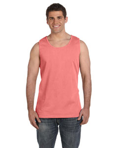Neon Red Orange Ringspun Garment-Dyed Tank