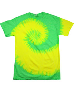 Flo Yellow/lime 5.4 oz., 100% Cotton Tie-Dyed T-Shirt