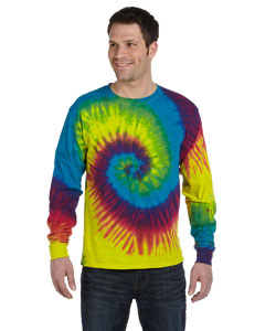 Reactive Rainbow 5.4 oz., 100% Cotton Long-Sleeve Tie-Dyed T-Shirt