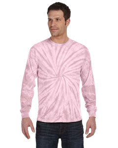 Spider Pink 5.4 oz., 100% Cotton Long-Sleeve Tie-Dyed T-Shirt