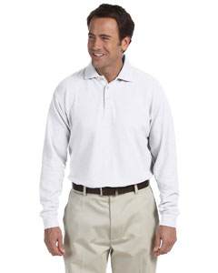 White Long-Sleeve Performance Plus Piqué Polo
