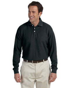 Black Long-Sleeve Performance Plus Piqué Polo