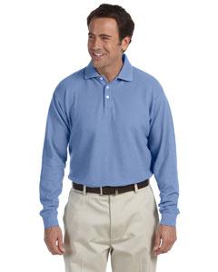 Dusty Blue Long-Sleeve Performance Plus Piqué Polo
