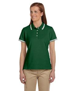 Pine Green/white Women's Tipped Performance Plus Piqué Polo