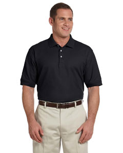 Black Men's Pima Piqué Short-Sleeve Polo
