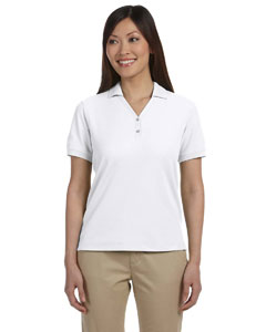 White Women's Pima Piqué Short-Sleeve Y-Collar Polo