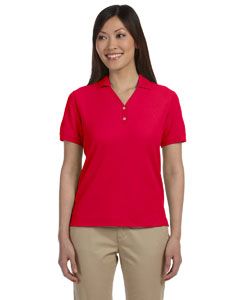 Red Women's Pima Piqué Short-Sleeve Y-Collar Polo