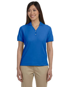 French Blue Women's Pima Piqué Short-Sleeve Y-Collar Polo